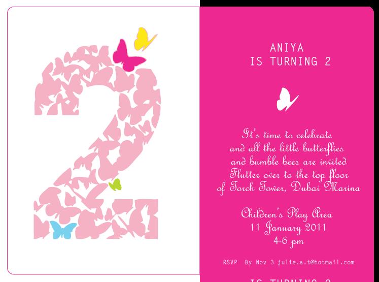 Prêt à Papier Kids Themed Birthday Party Invitations Butterfly - 2nd birthday invitation templates