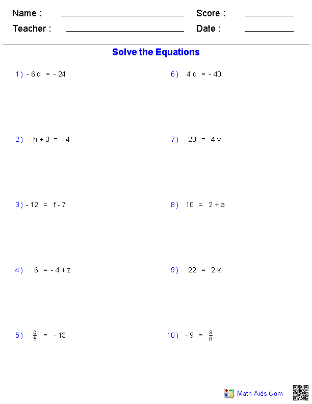 One Step Equations Worksheets Containing Integers – Step 10 Worksheet