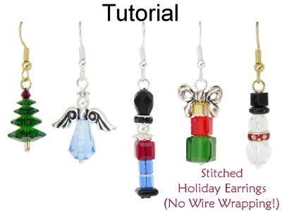 Stitched Christmas Holiday Beaded Earrings Beading Pattern  - Make Christmas Tree Earrings