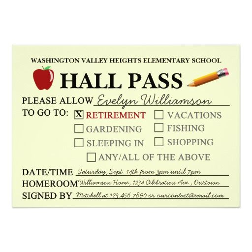 funny hall pass template  Retro Hall Pass Teacher Retiring Party Invitation | Zazzle ...