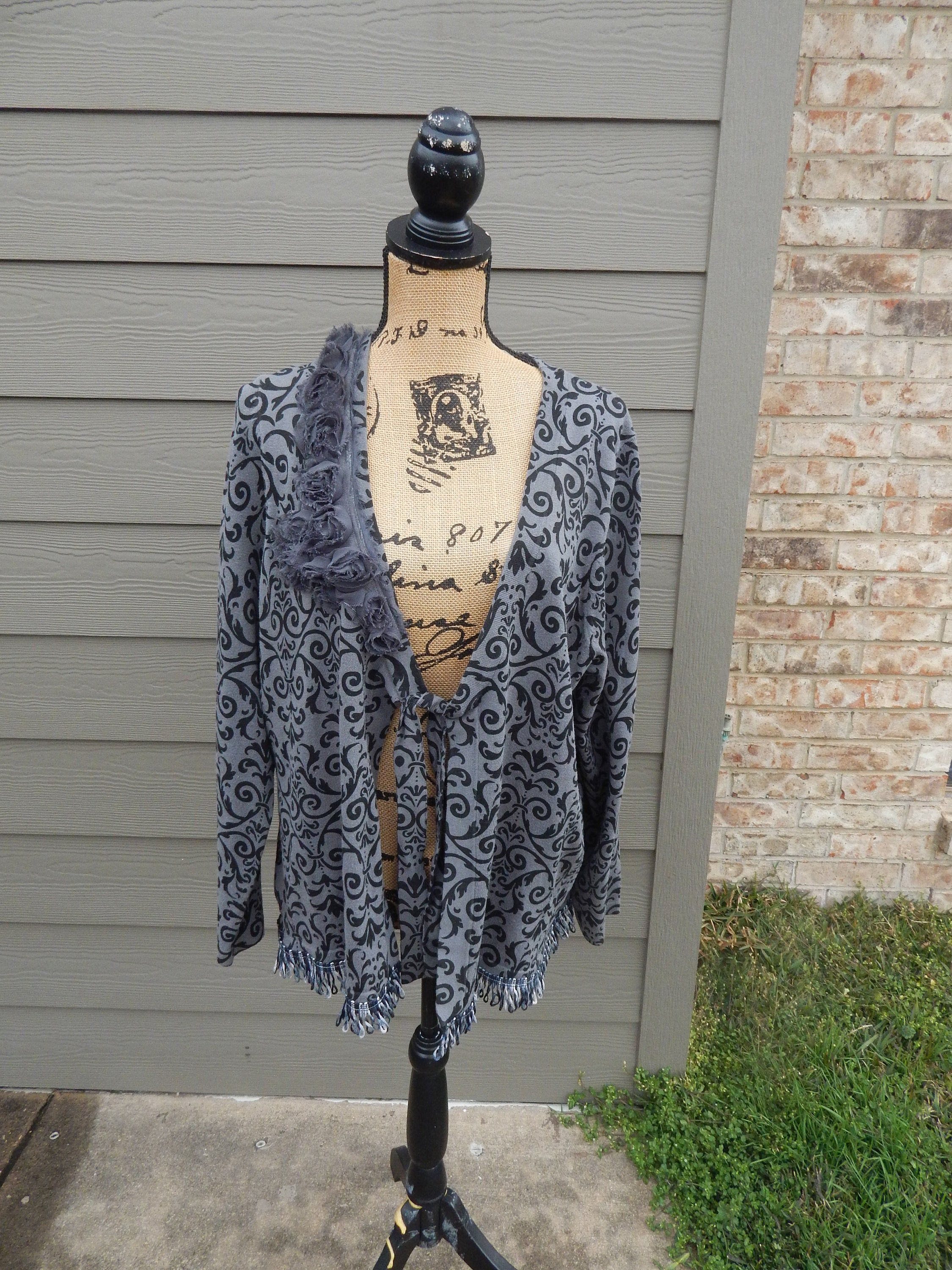 Bohemian Sweater Flowered and Gray Fringe and Trim Altered Women/'s Gray Cardigan Sweater Altered Couture-Medium Romantic Feminine