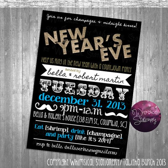new years eve party invitation printable file only gold glitter black invitation diy new years invitation