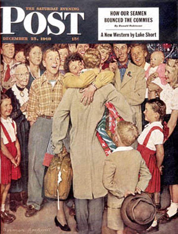 Christmas Homecoming Rockwell.Sat Eve Post Cover Ill Christmas Homecoming December 25