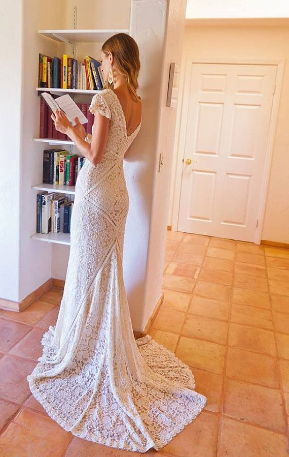 Bohemian Wedding Dress Stretch Lace Gown With Train Panelled Patchwork Construction Ivory Or White Short Sleeves