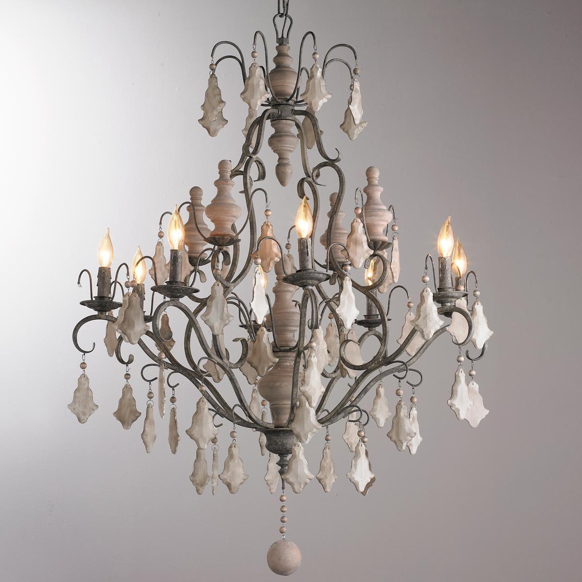 Painted Crystal Wood Finial Chandelier Lighting