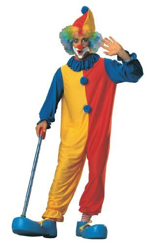 Pantomime Circus Clown Fancy Costume Multi-Color Fancy Dress For Adults Unisex