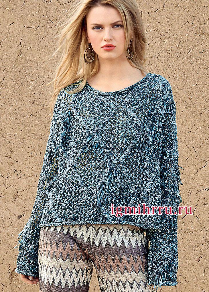 cdc6374f56d8 Свободный пуловер из меланжевой пряжи, с ажурными ромбами. Вязание ...