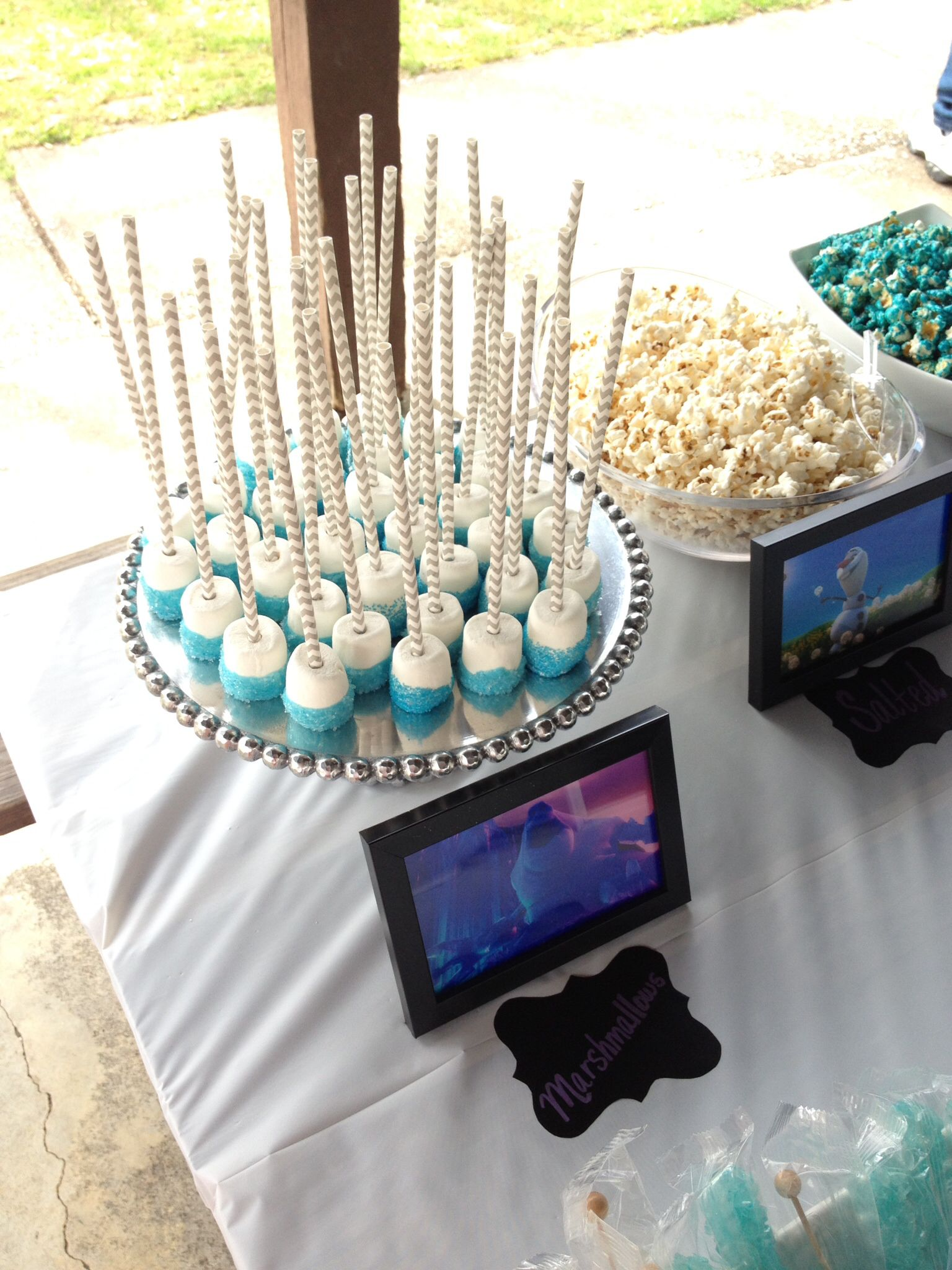 Frozen Birthday Party dessert bar - marshmallow pops