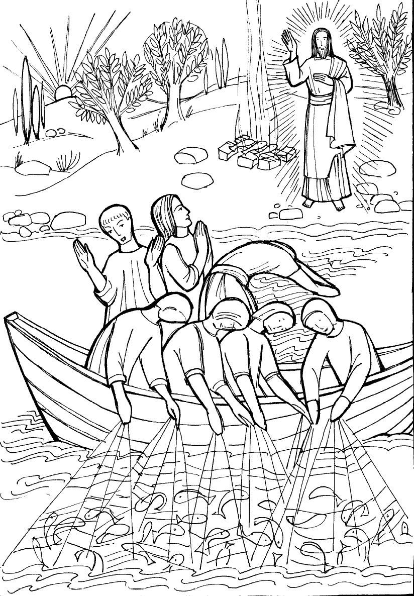 Breakfast With Jesus Coloring Page Jesus Coloring Pages Fish