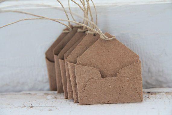 Kraft Mini Envelope Tags Set of 6 with Hemp String- As Seen In Better Homes and Gardens Food Gift Magazine