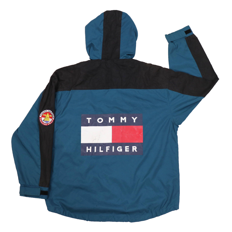Vintage 90s Tommy Hilfiger Big Flag Logo Windbreaker Hoodie Jacket ...