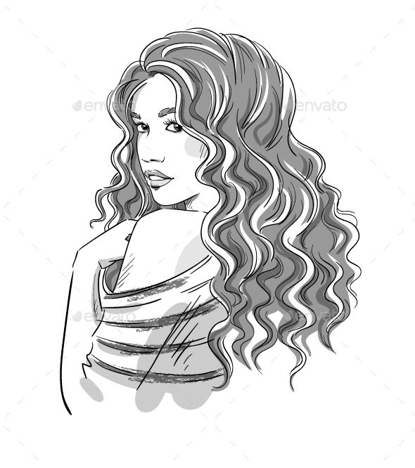 Sketch Of A Girl With Curly Hair Curly Girl Hairstyles Curly Hair Drawing Front Hair Styles