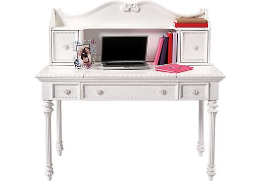 white desk vanity with mirror. Shop for a Disney Princess White Desk w Vanity Mirror  Hutch at Rooms To Go