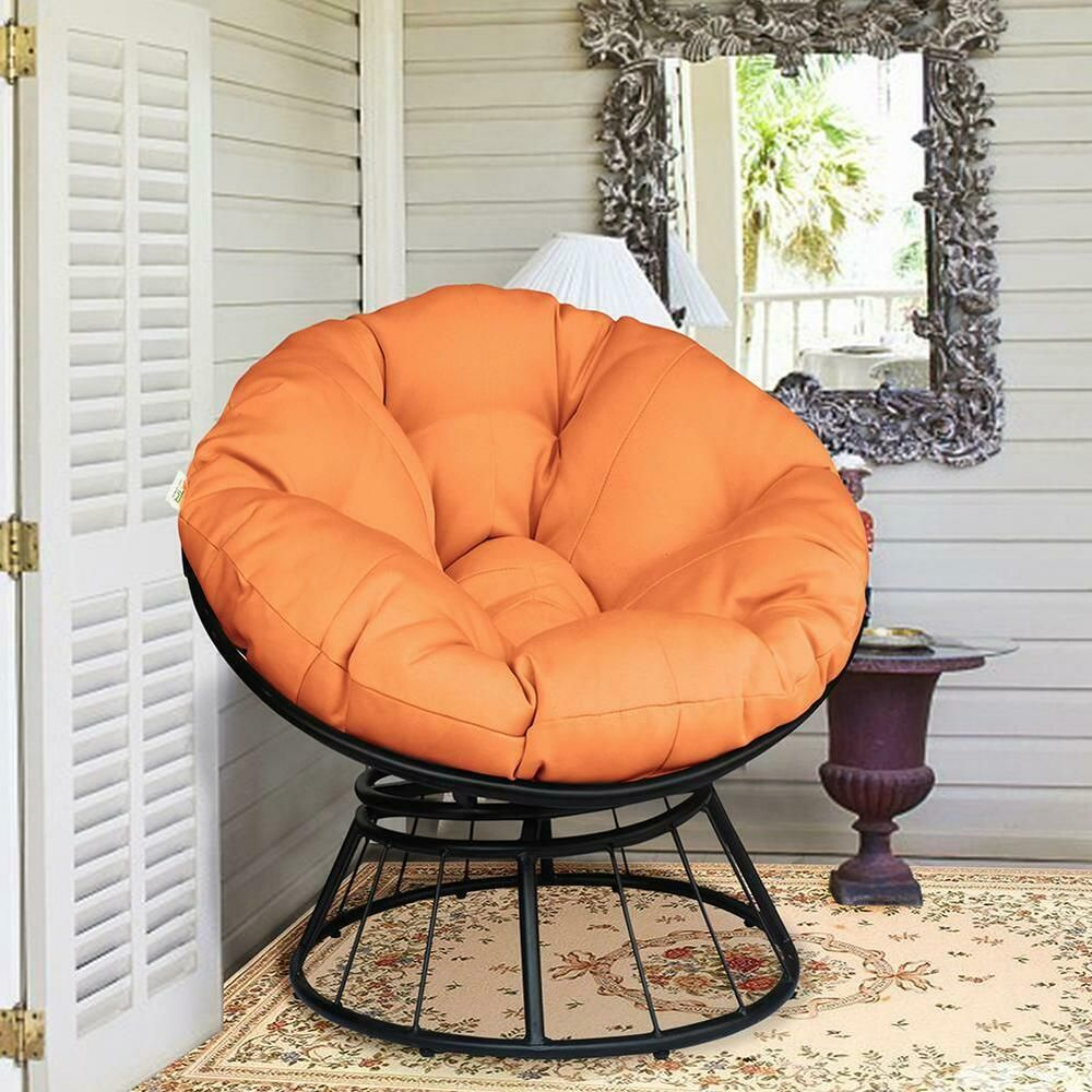 Details About 360 Swivel Papasan Chair With Soft Cushion Outdoor