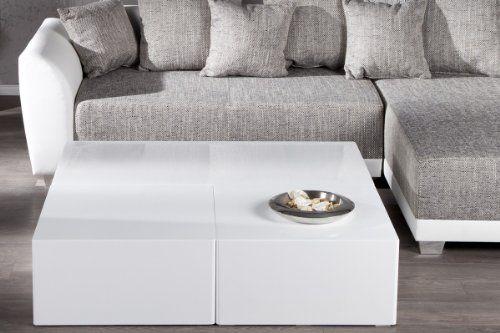 Couchtisch FineBuy Design Monobloc M 60 x 60 cm Holz Weiß - wohnzimmertisch hochglanz weiß