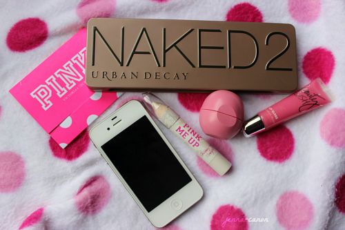 iPhone, Urban Decay products, EOS, and Pink. This picture is perfect.