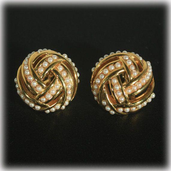 Seed Pearl Pearl Earrings Gold Earrings Large by JunkboxTreasures