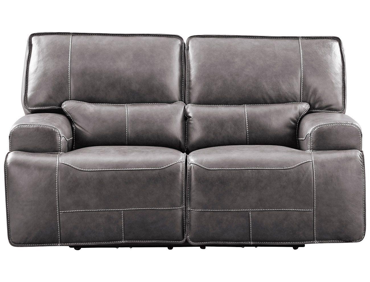 Dylan Leather Power Loveseat Grey Large Love Seat Mattress Furniture Leather Loveseat
