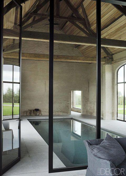 Barn Converted To Pool House Original Beams Contrast Wt Steel
