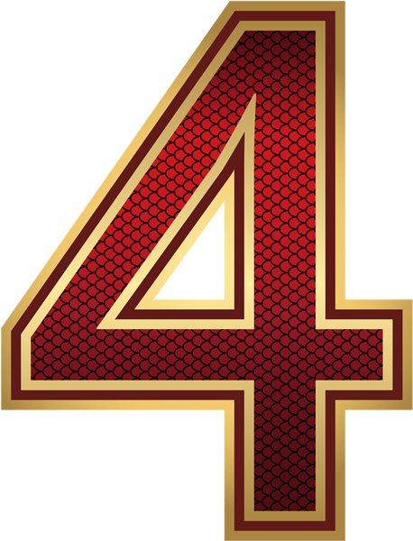 Red And Gold Number Four Png Image Red And Gold Free Clip Art Gold Number