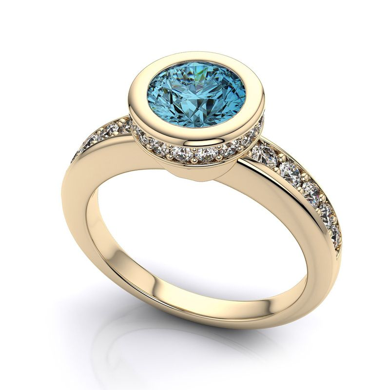 white gold blue diamond engagement ring | jewelry ideas ...