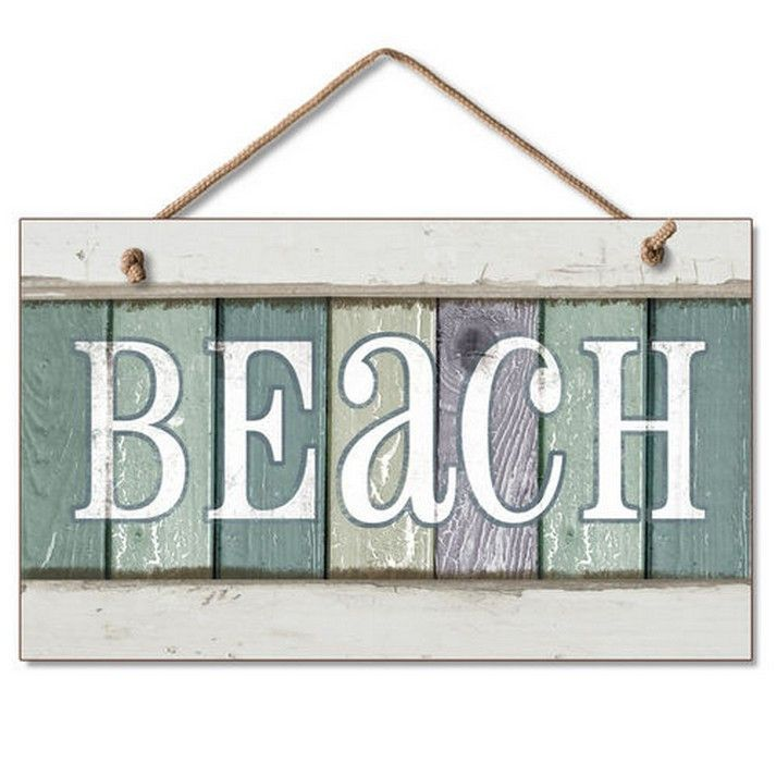"Beach Signs Decor Beauteous Colorful Wooden Hanging Beach Sign  10""  Party Signs Products Decorating Design"