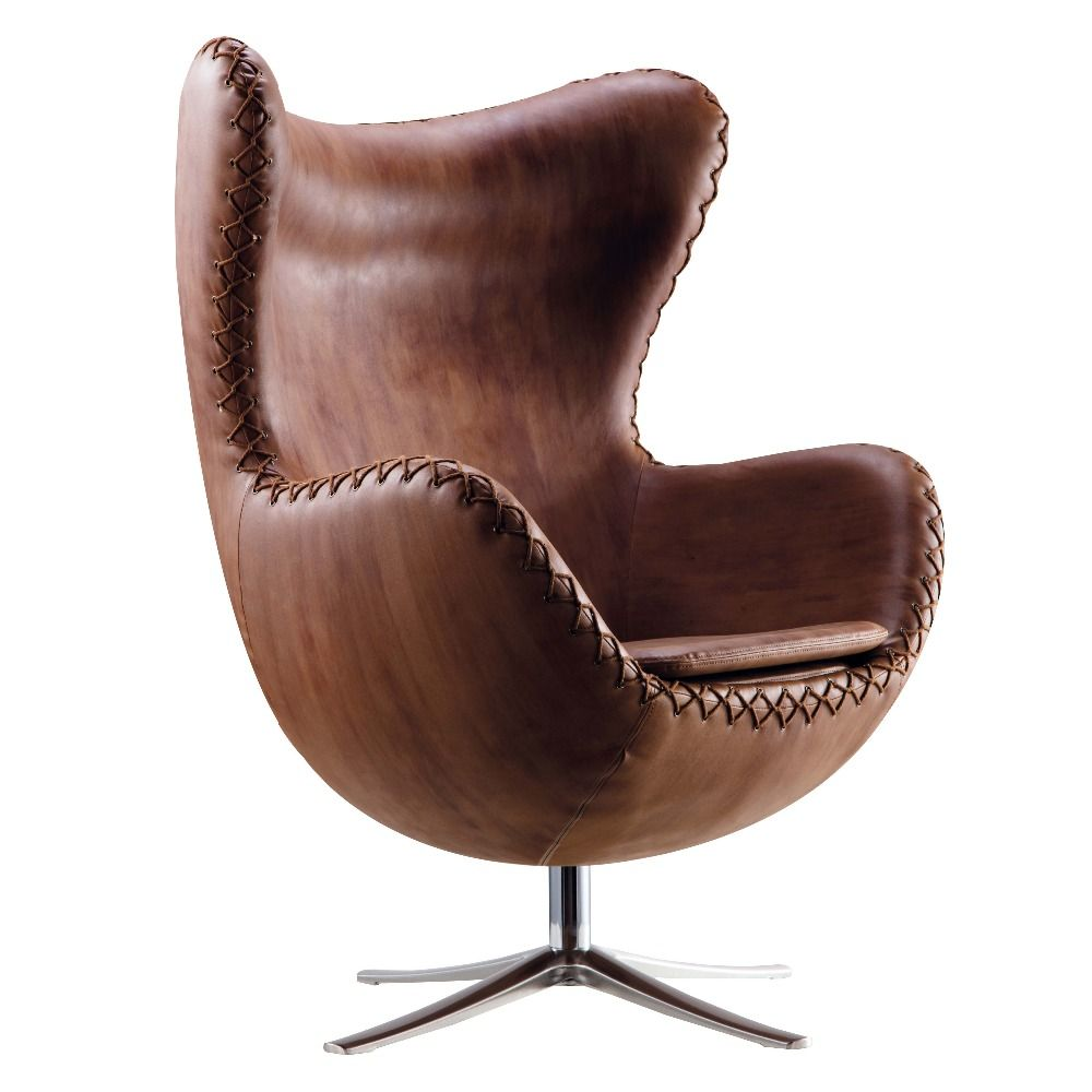 Recliner Style aluminium leather egg chair with 2016 newest material cover