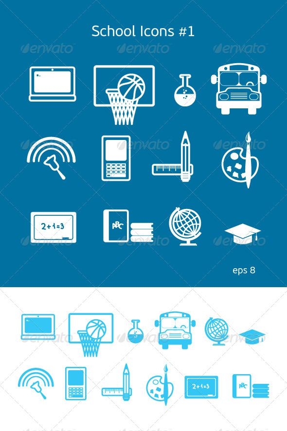School And Education Icons Set 1