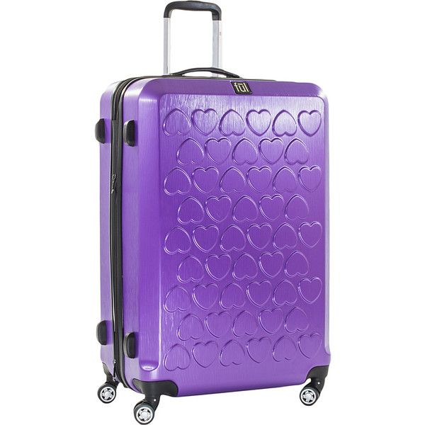ful Hearts 25in Spinner Rolling Luggage - Purple - Checked Luggage (6.705 RUB) ❤ liked on Polyvore featuring bags, luggage and purple
