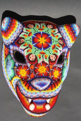 Details About Huichol Paper Mache Skull Day Of Dead Mask