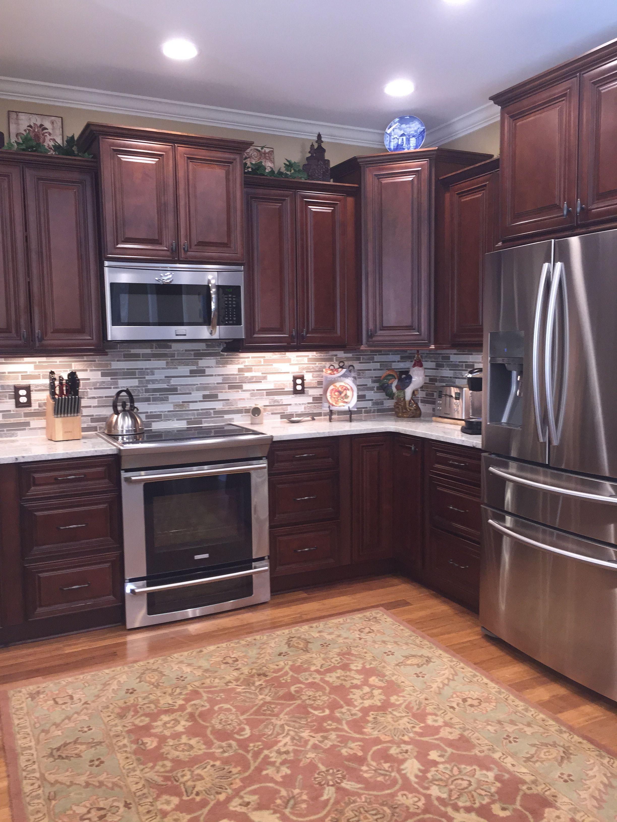 Kitchen Design Ideas , Dark Cabinets, Light Granite ...