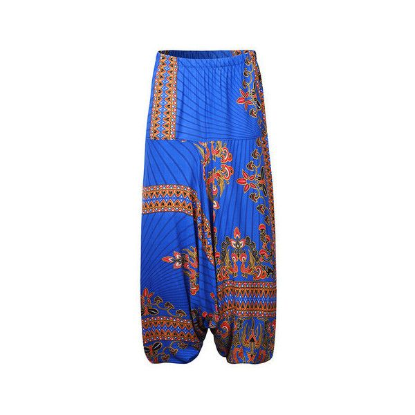 Bohemia Ethnic Printed Loose Wide Leg Women Harem Pants ($25) ❤ liked on Polyvore featuring pants, blue, loose fitting pants, blue harem pants, loose pants, wide leg pants and wide leg trousers