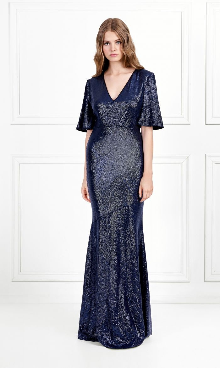 Rachel zoe heather fluid sequin gown navy products pinterest