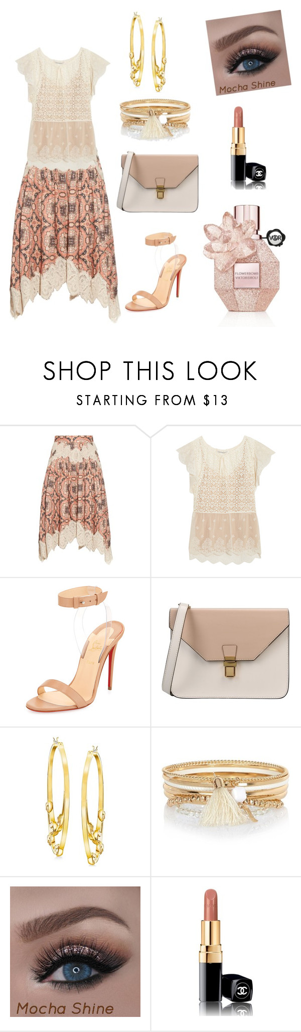"""""""Trending Skirt"""" by gigiglow ❤ liked on Polyvore featuring Zimmermann, STELLA McCARTNEY, Christian Louboutin, 8, Swarovski, River Island and Chanel"""