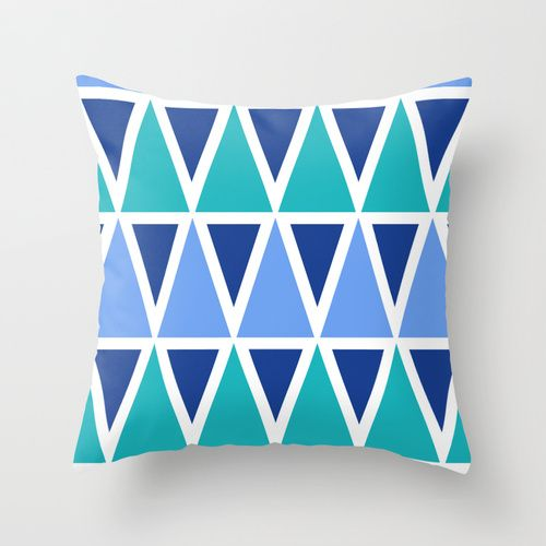 Tribal Pattern - Blue Throw Pillow
