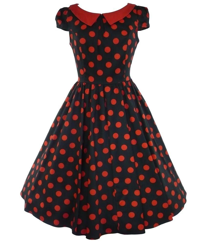 Hur london us collared big dot prom dress black red brides maid