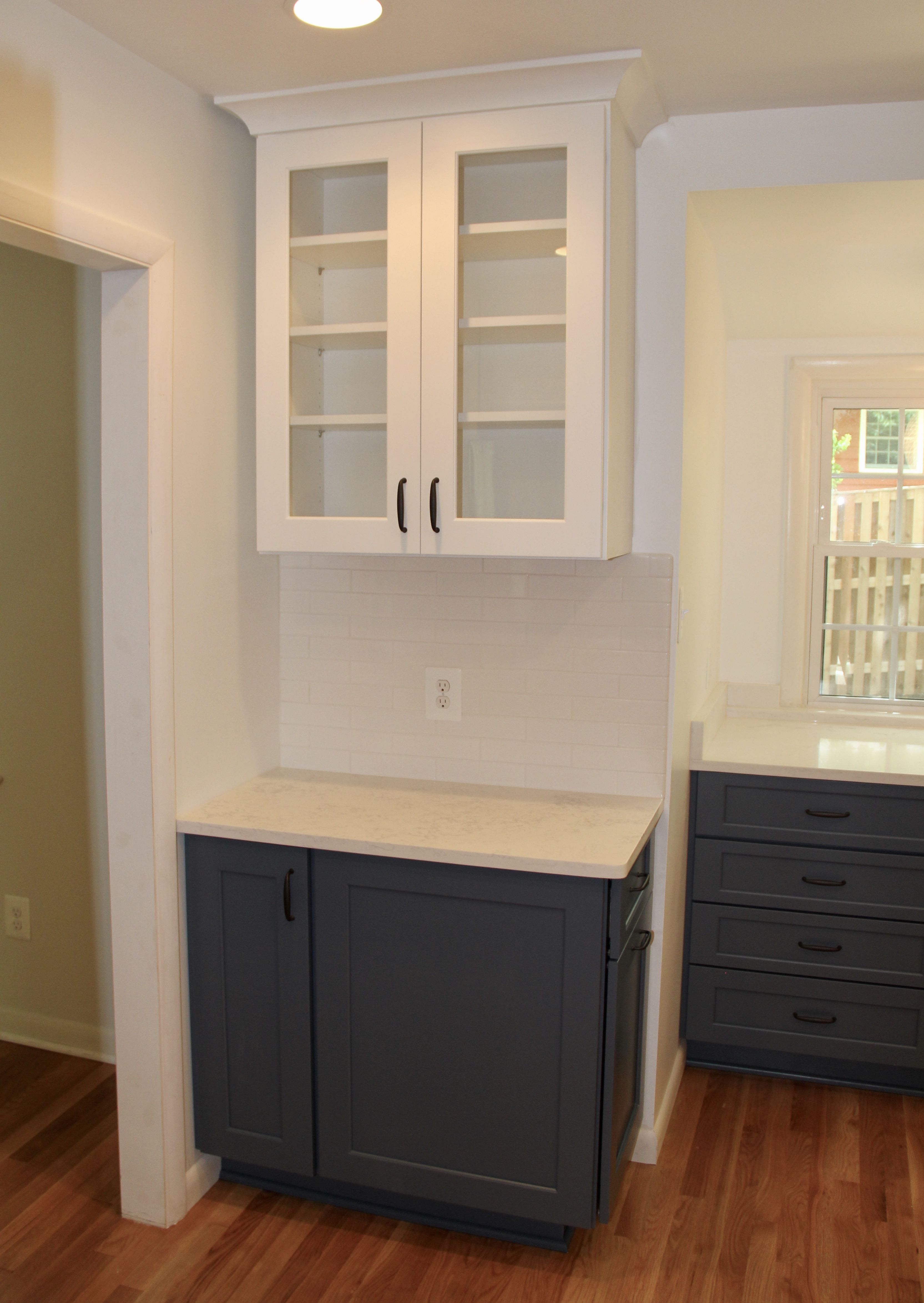 Brighton Cabinetry Cadet Blue And Chantilly Lace Cabinetry White Cabinets Kitchen Remodel