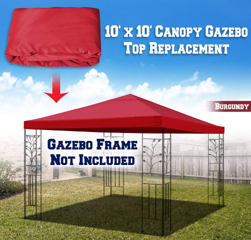 Benefitusa Replacement Top Cover For 10 X10 Gazebo Canopy Patio Pavilion Sunshade Plyester Single Tier Burgundy Gazebo Canopy Canopy Cover Gazebo