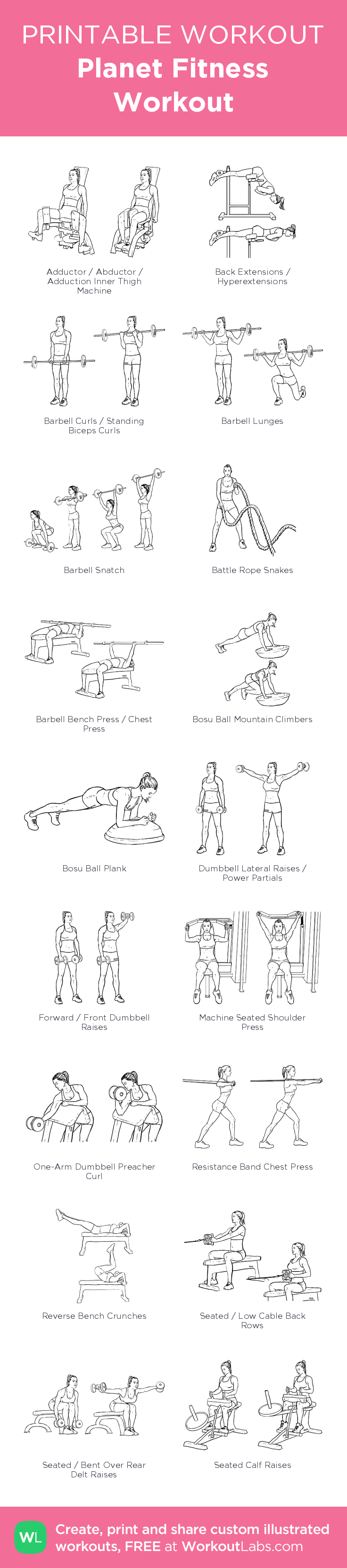 Planet Fitness Workout Illustrated Exercise Plan Created At Planet Fitness Workout Planet Fitness Workout Plan Full Body Workout Routine