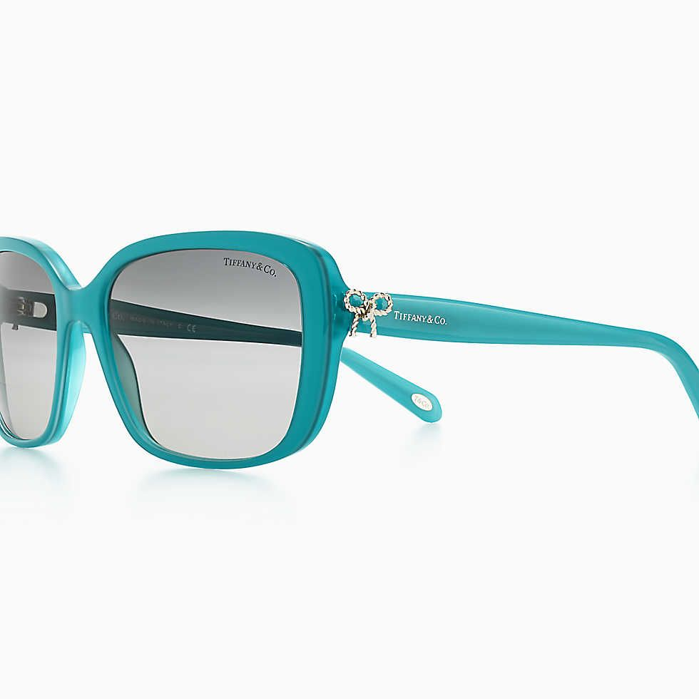 f20c7b9d7db Tiffany Twist square bow sunglasses in turquoise acetate.