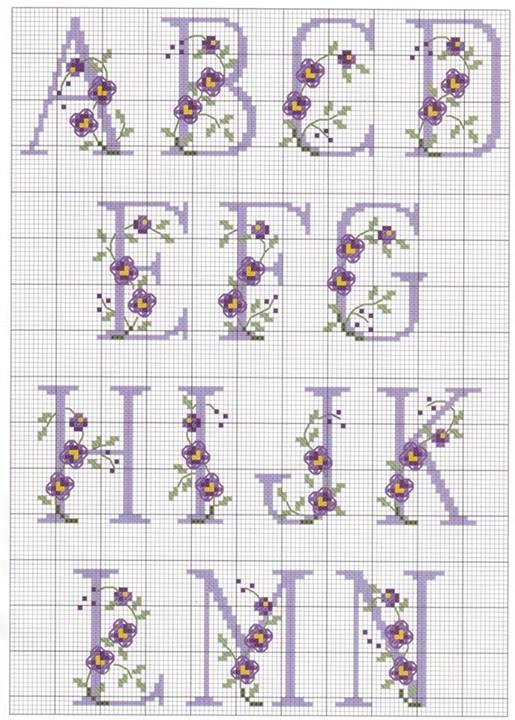 Artes da Nique: Gráficos em ponto cruz - Monograma de flor   \