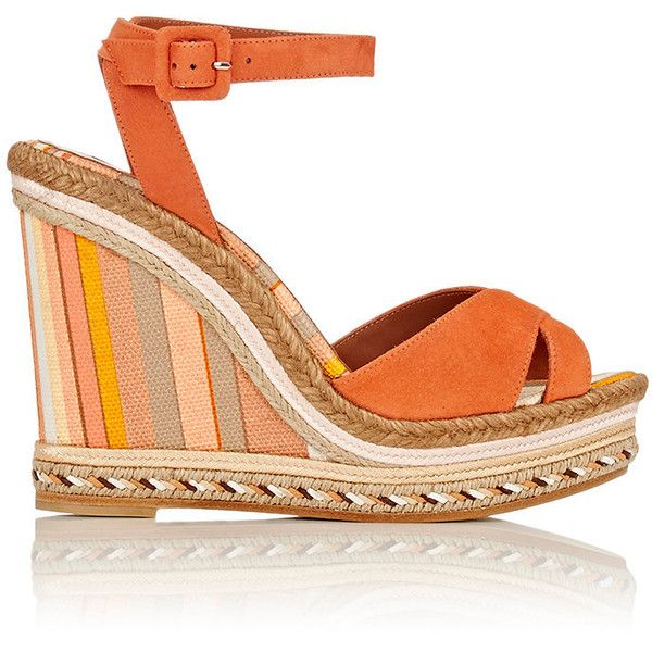 Valentino Native Couture 1975 Espadrille Wedge Sandals Size (€210) ❤ liked on Polyvore featuring shoes, sandals, wedges, heels, shoes - wedges, colorless, heeled sandals, high heel platform sandals, strappy platform sandals and ankle strap sandals