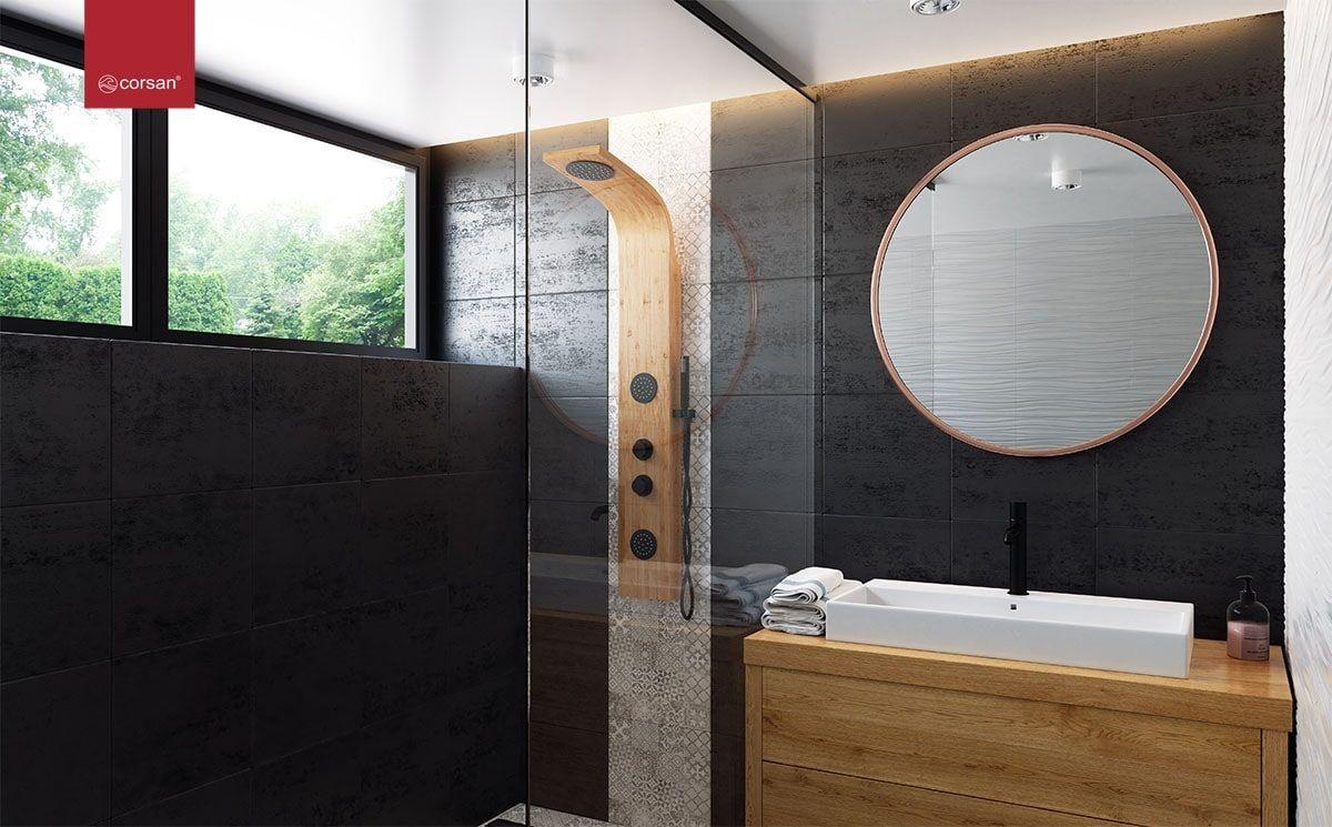 Panel prysznicowy Corsan Bali w kolorze egzotyczne drewno z czarnymi elementami. #corsan #remontujemy #bateria #faucet #baterialazienkowa Showers #BathroomShower #ShowerSystems #architekturawnętrz #mojemieszkanie #mieszkaniewbloku #whitehome #instapic #tile #bedroom #tiles