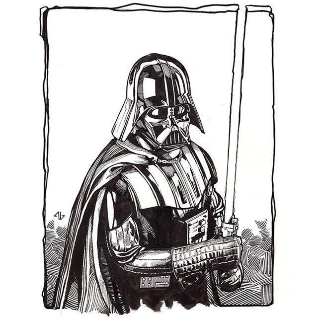 Darth Vader By Adi Granov Ink On Paper For London Super