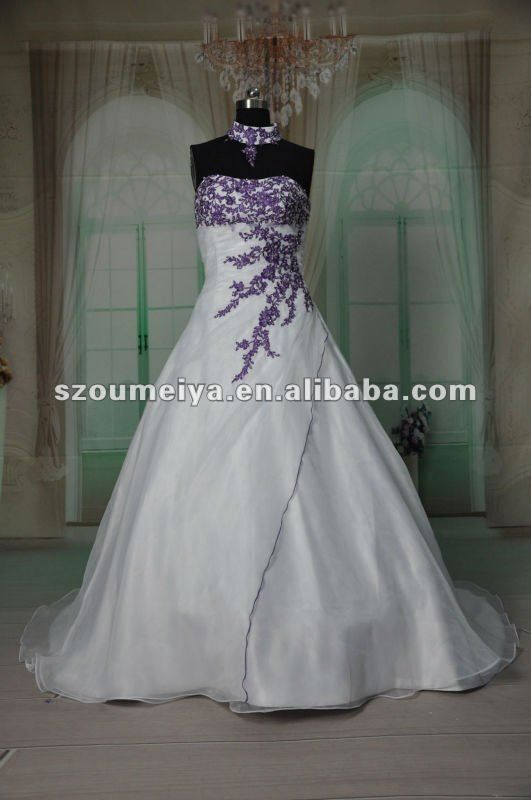 Purple Wedding Dresses Oumeiya Orw215 Purple And White Organza