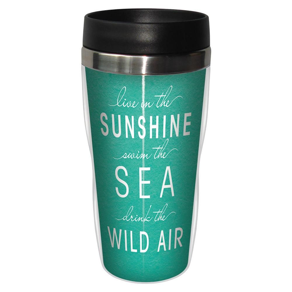 Travel Oz 16 In Stainless Live Sunshine Artful Premium Mug 5ARL4j3