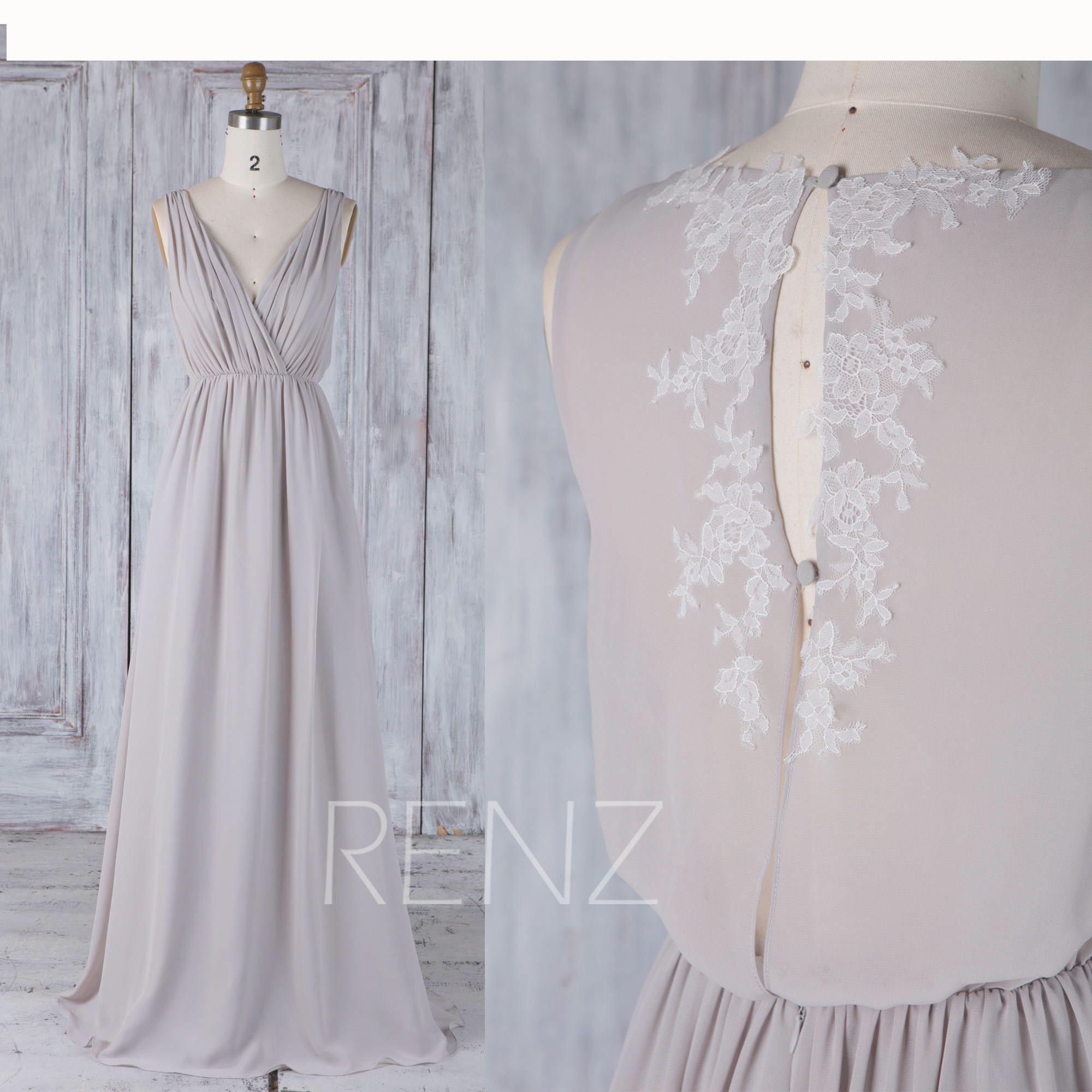 Bridesmaid Dress Brown Gray Ruched V Neck Chiffon Wedding Dress,Lace ...