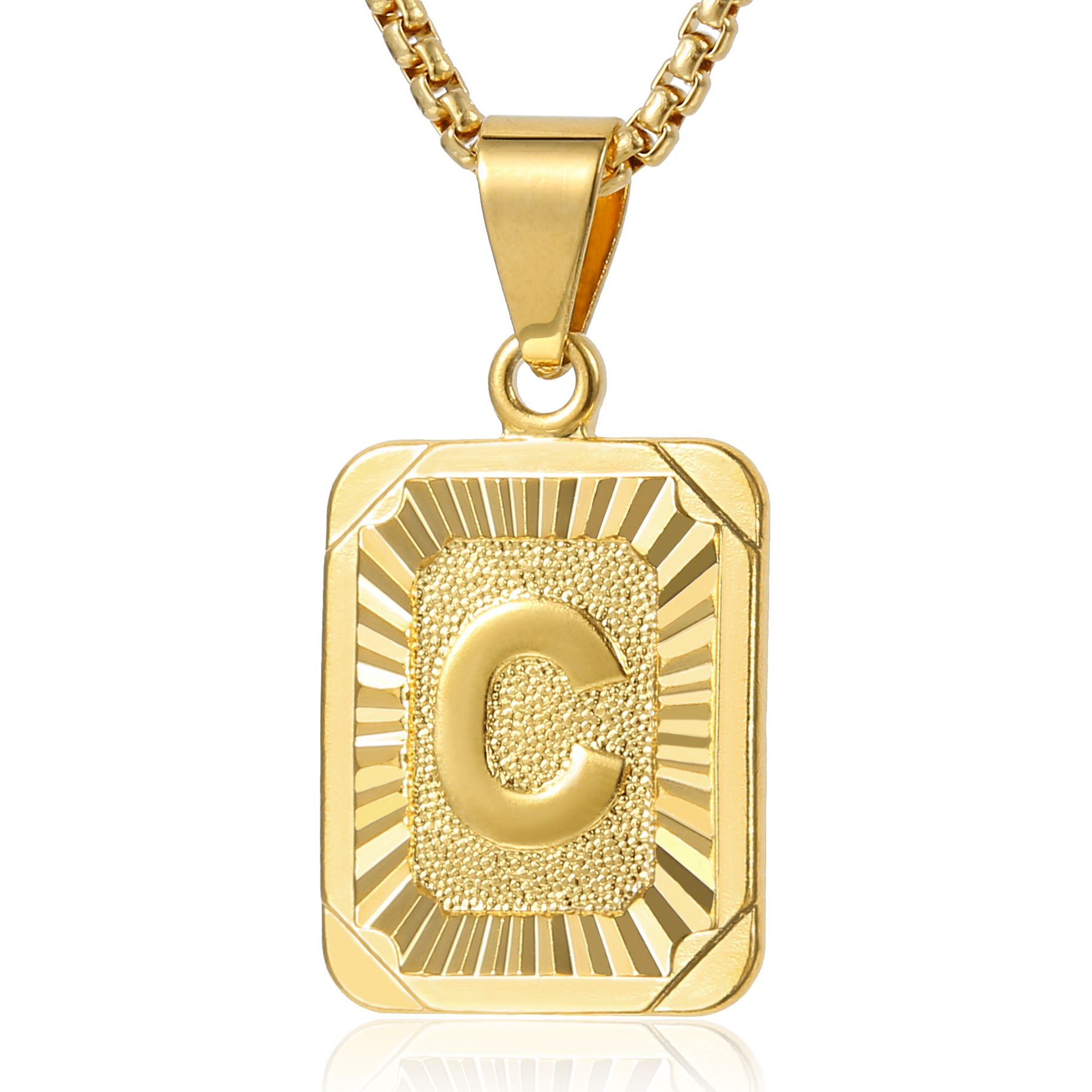 466a65a031f91 Trendsmax Mens Women Chain Letter Pendant Necklace Gold Plated ...