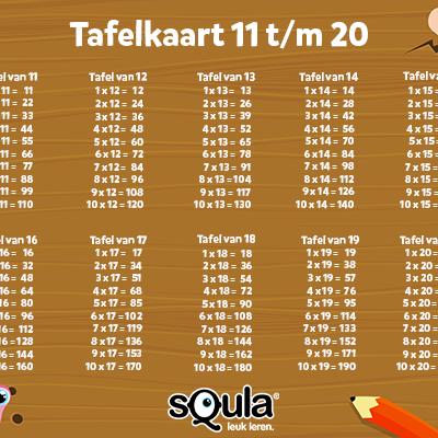 Tafelkaart tafels 11 20 tafels pinterest puzzels for Tafels met antwoorden