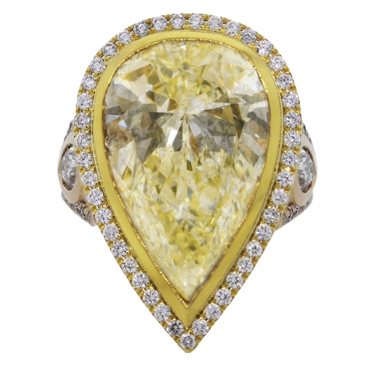 carat fancy light yellow pear shaped diamond gold engagement